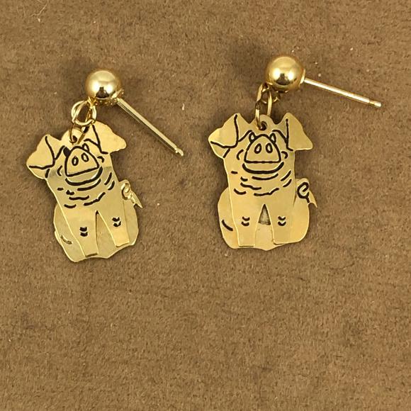 Vintage Other - 14 Karat 4MM Ball Post Dangle Little Pig Earrings